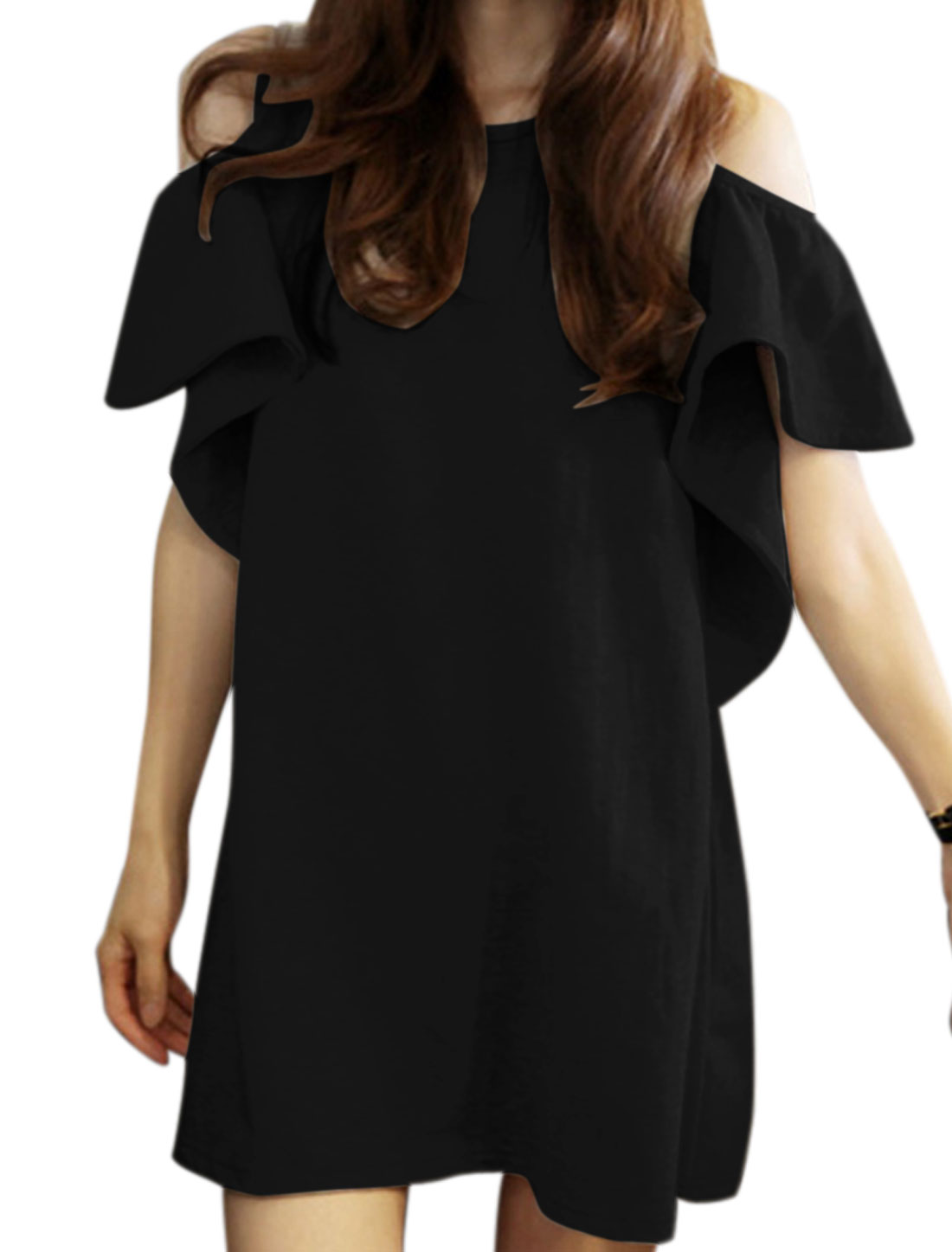 Woman Round Neck Cut Out Shoulder Butterfly Sleeves Tunic Dress Black XS