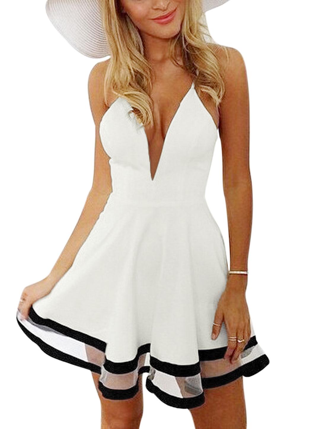 Women Deep V Neck Sleeveless Mesh Panel A Line Dress White M