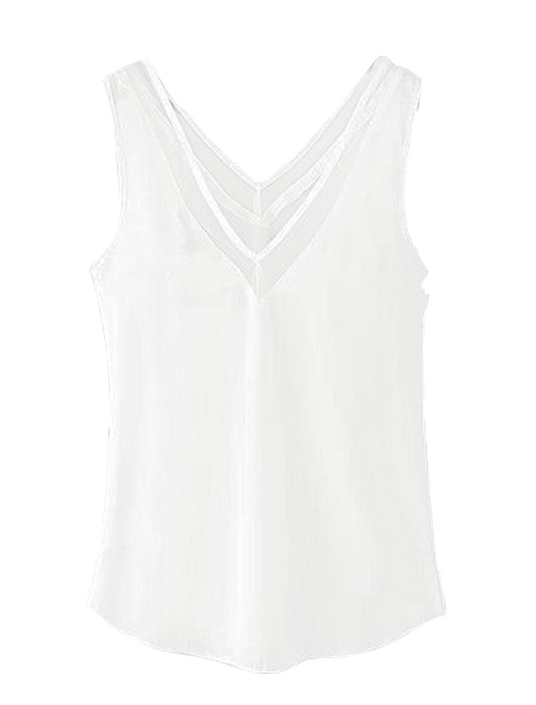 Women Deep V Neck Sleeveless Panel Design Casual Tops White XS