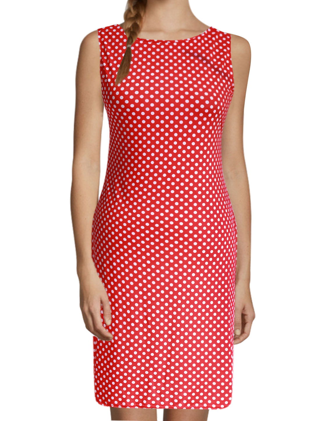 Lady Backless Dots Printed Sleeveless Pencil Dress Red L