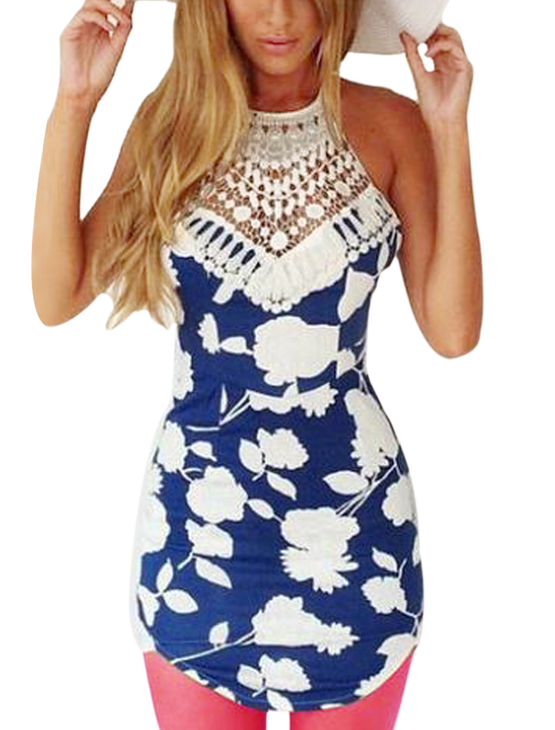 Woman Floral Prints Crochet Design Halter Neck Round Hem Tunic Top Navy Blue White L