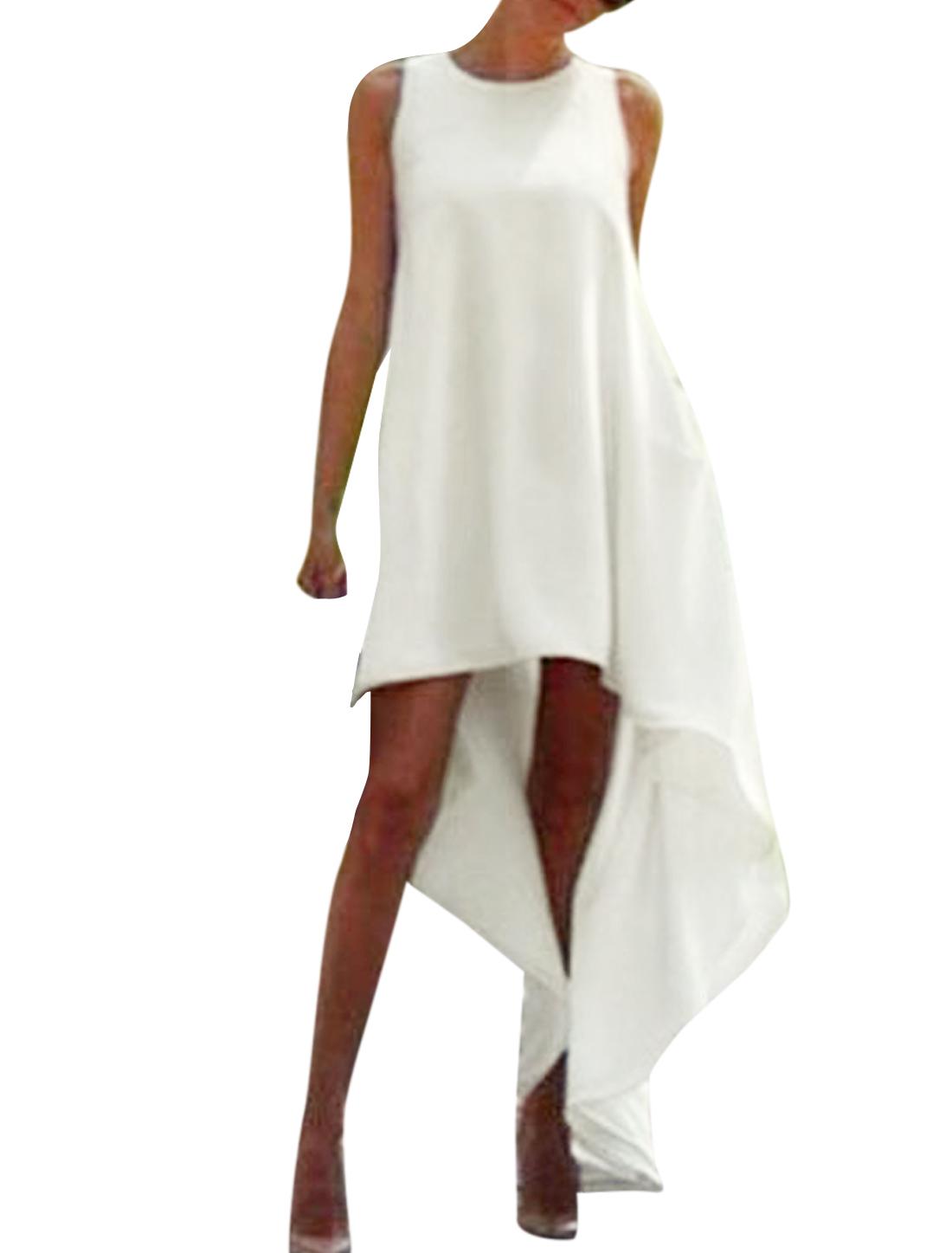 Women Round Neck Sleeveless Low High Hem Long Dress White S