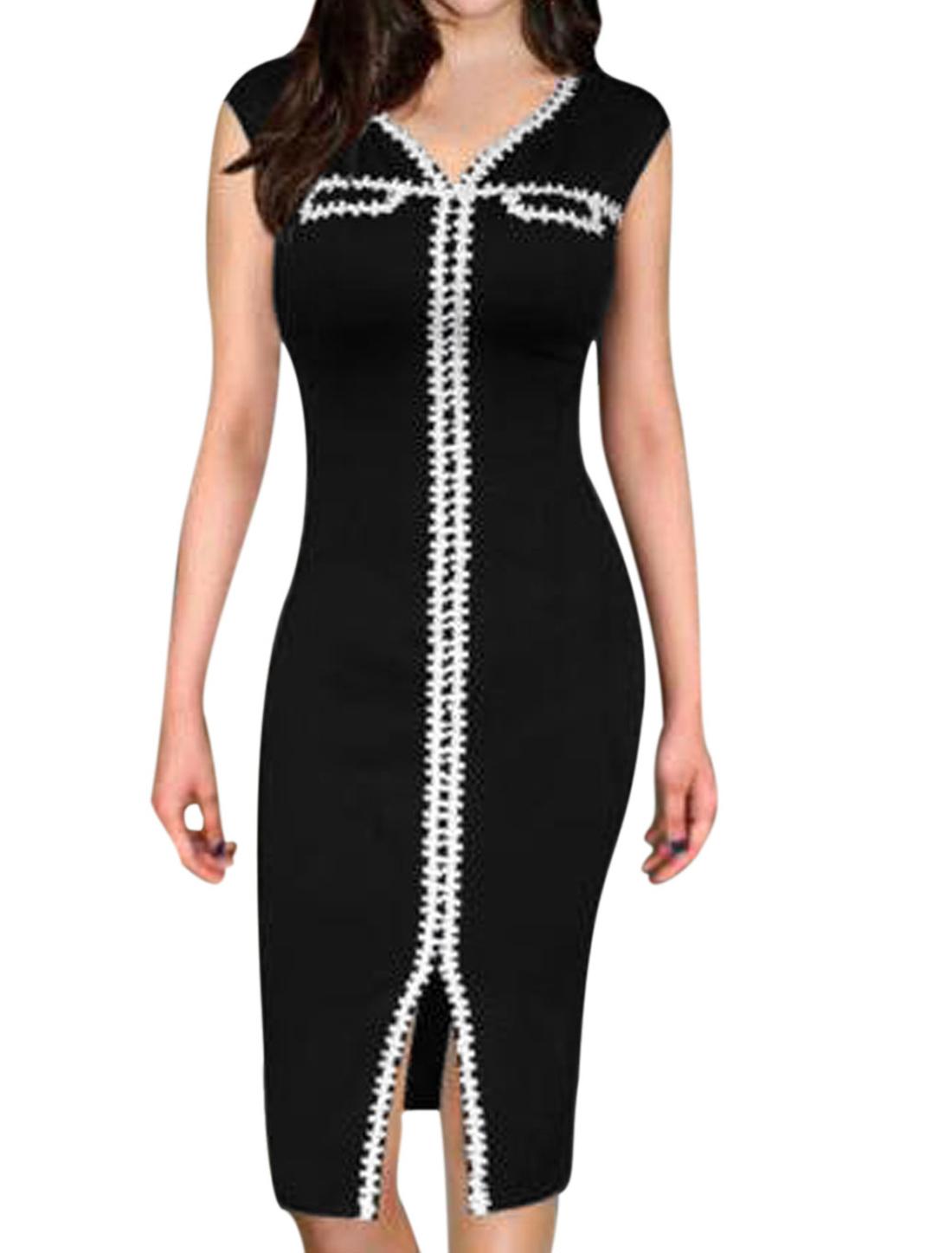 Woman V Neck Sleeveless Split Hem Panel Wiggle Dress Black M