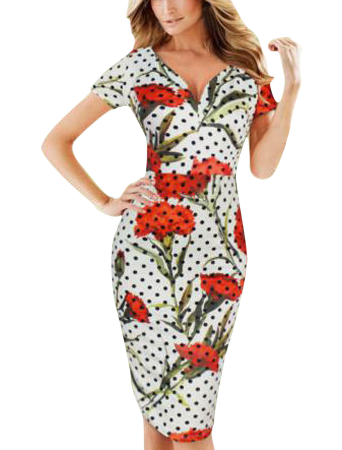 Woman Dots Floral Prints Deep V Neck Short Sleeves Unlined Pencil Dress White M