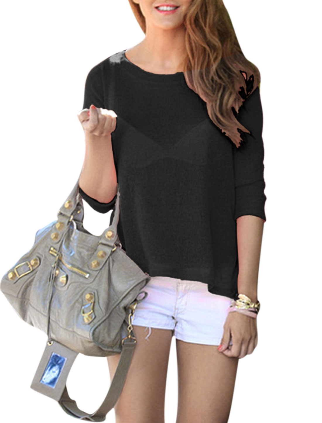 Woman Round Neck 3/4 Sleeves Crossover Back Chiffon Top Black
