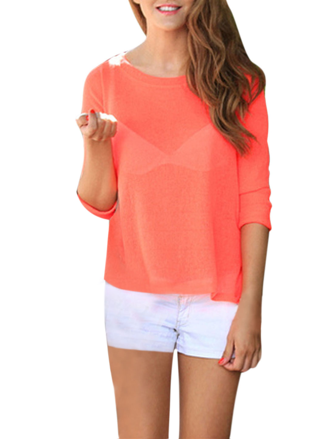 Lady Round Neck 3/4 Sleeves Crossover Back Slipover Chiffon Top Coral XS