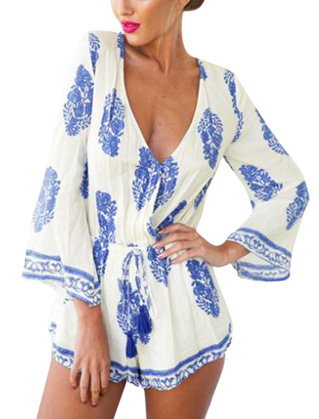 Women Deep V Neck Long Sleeves Novelty Prints Casual Rompers White Blue XS