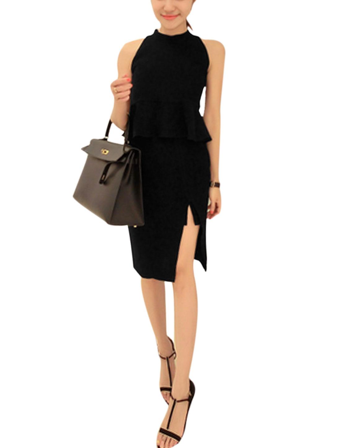 Women Sleeveless Peplum Top w Mid Rise Split Side Casual Skirt Set Black M