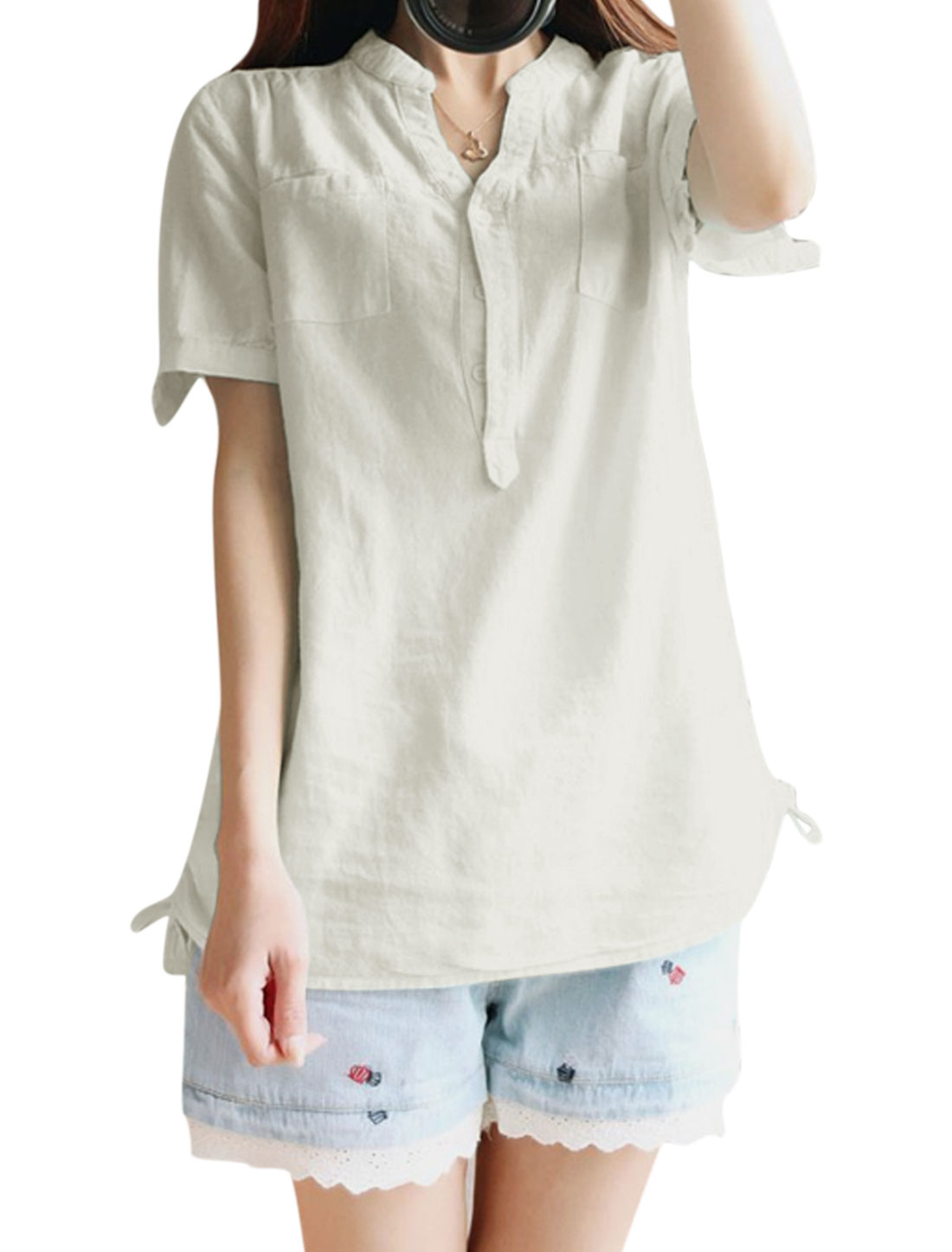 Ladies Short Sleeve Button Down Pockets Casual Tunic Shirt White XS