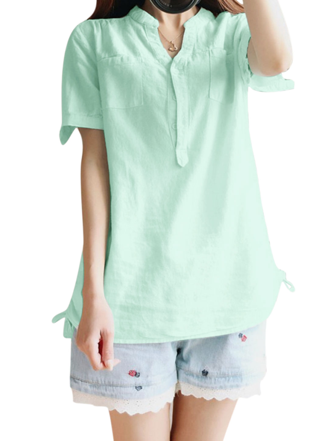 Women Short Sleeve Stand Collar Button Down Pockets Casual Blouse Mint XS