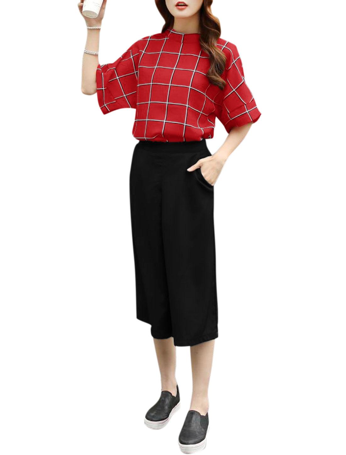 Woman Checks Elbow Sleeves Top w Wide Leg Capris Pants Red Black XS