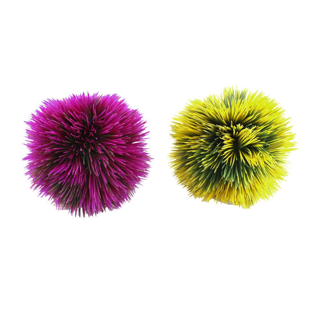 "2 Pcs Purple Yellow Simulation Round Aquarium Grass Ball Decor 4"" Dia"