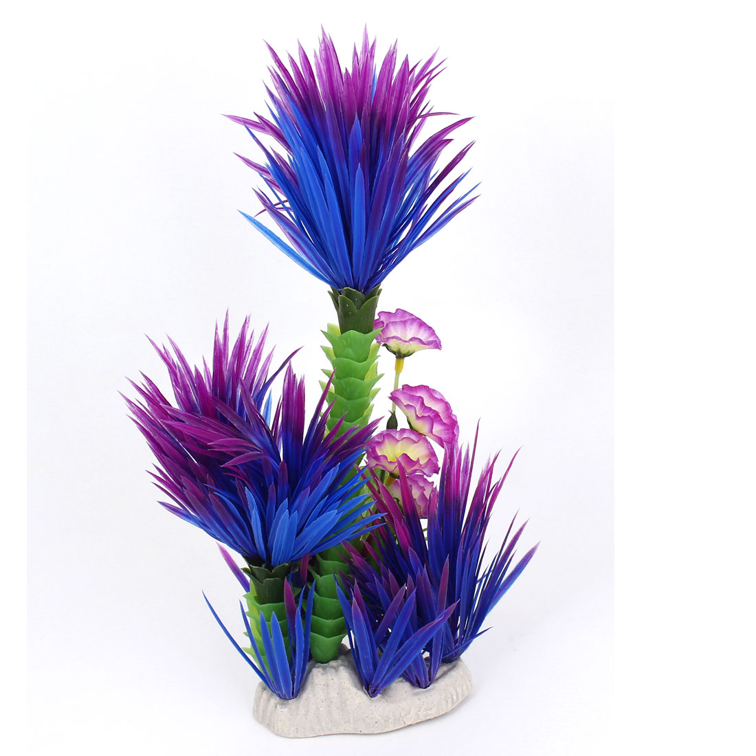 Aquarium Flower Accent Underwater Tree Plant Ornament Purple Blue 29cm Height