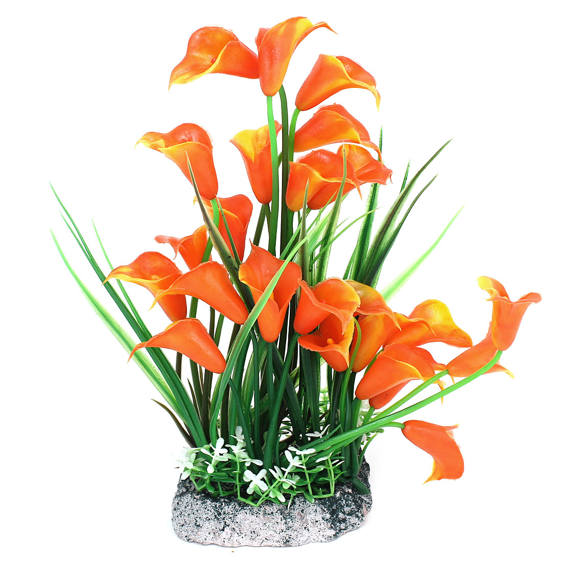 Fish Tank Morning Glory Accent Water Plant Grass Decor Orange Green 24cm High