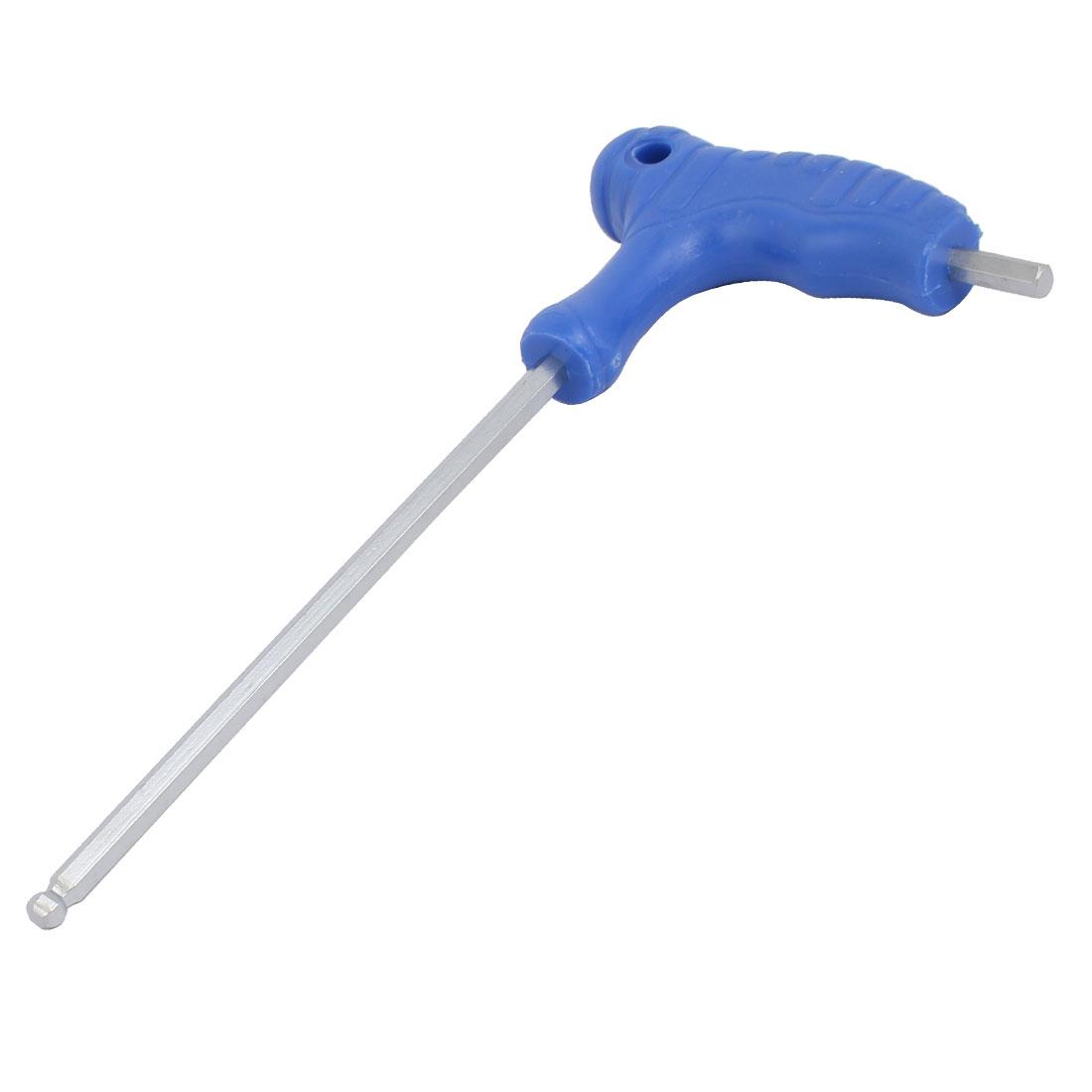H4 4mm Tip Shaft T Handle Ball Head Hex Hexagon Key Wrench Tool Blue