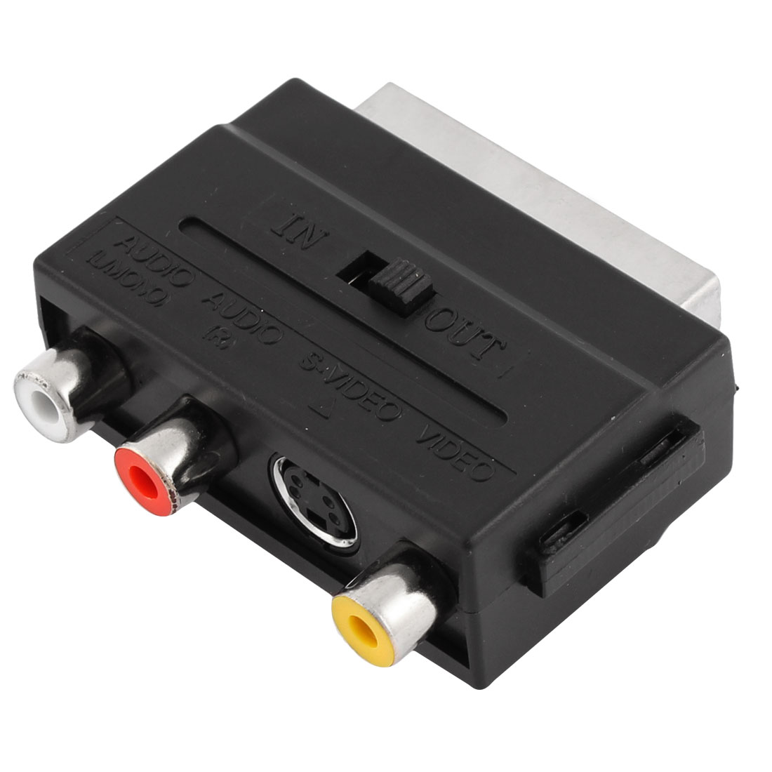 IN-OUT Switch RGB Scart Male to 3 RCA S-VHS Female Adapter Connector