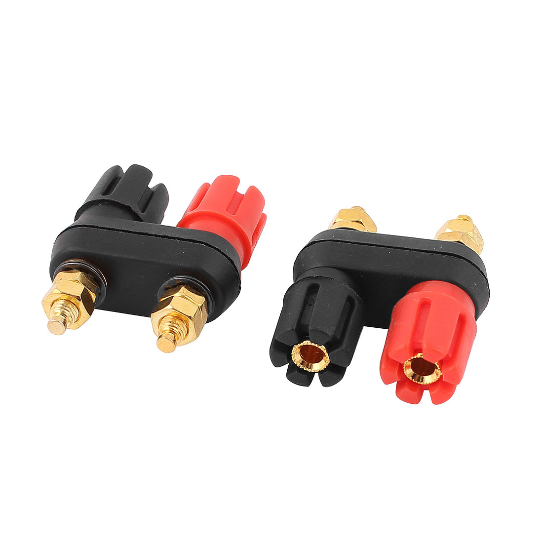 2pcs Dual Female Banana Connector Jack Terminal Binding Post for Speaker Amplifier