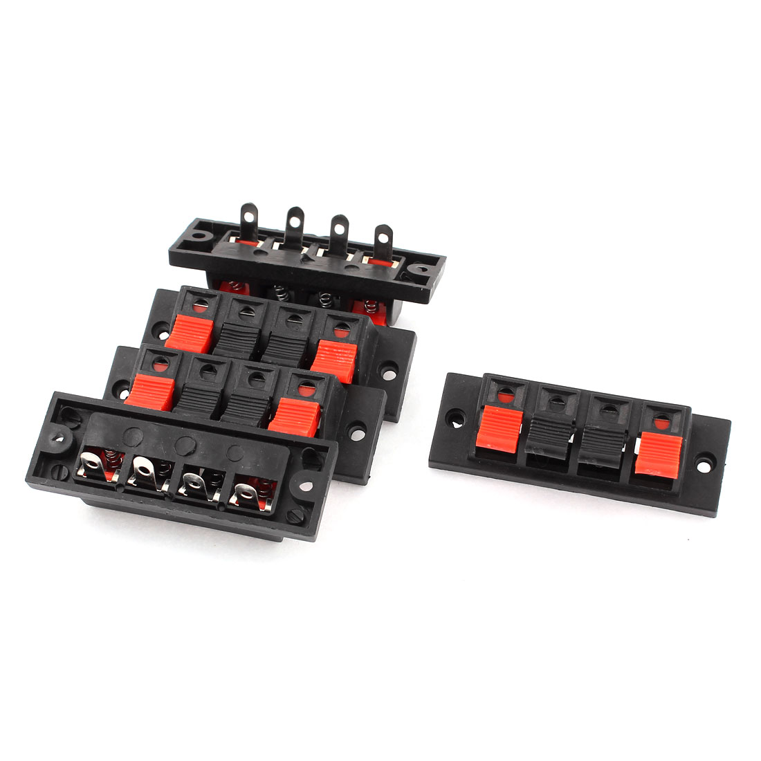 5pcs 4 Way Push Release Connector Plate Stereo Speaker Terminal Strip Block