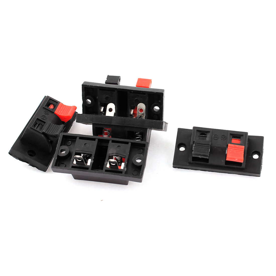 5pcs 2 Way Jack Spring Push Release Connector Plate Speaker Terminal Strip Block