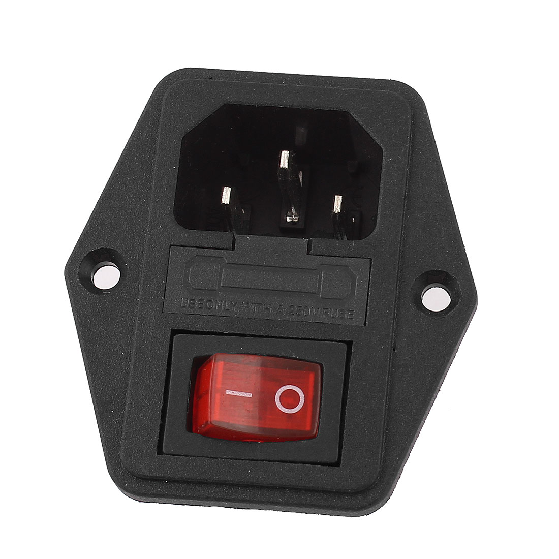 AC 250V 10A IEC320 C14 Power Inlet Red Light Rocker Switch w Fuse Holder