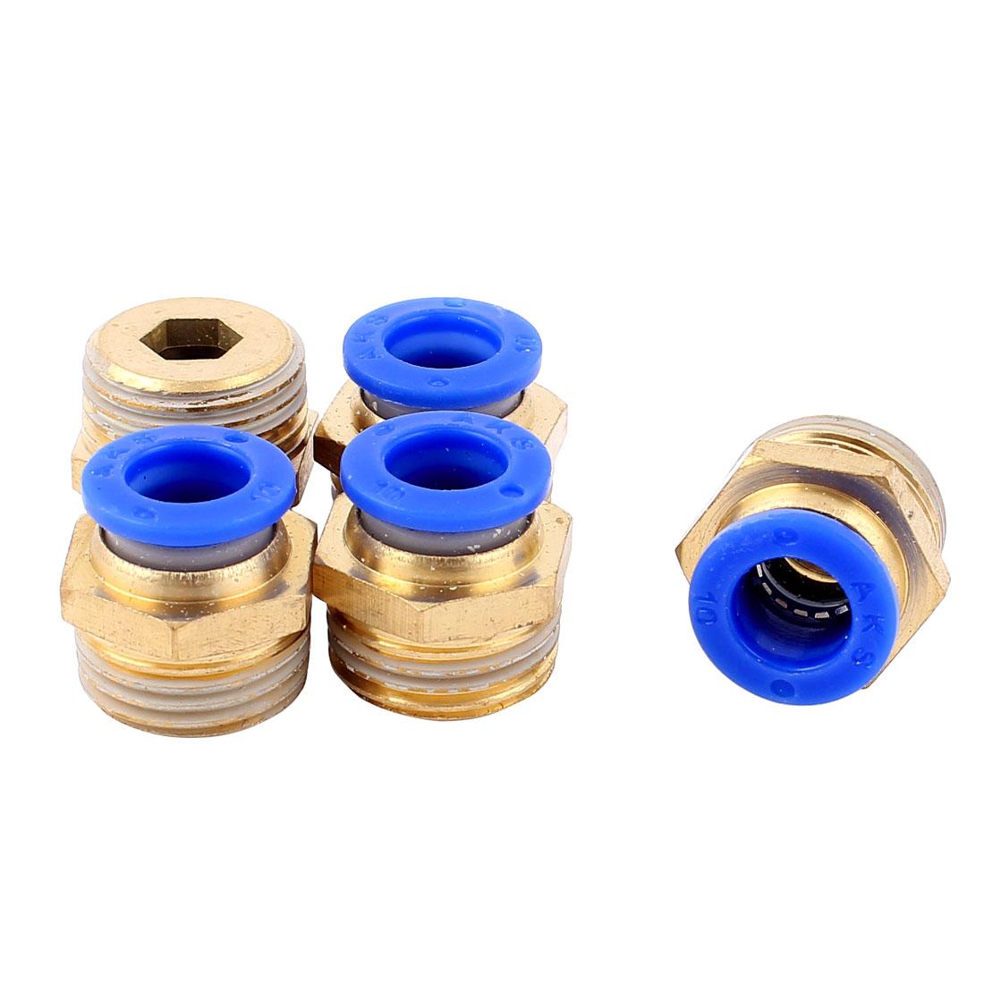 5pcs 1/2BSP Male to 10mm OD Push In Quick Joint Air Pneumatic Fitting Connector