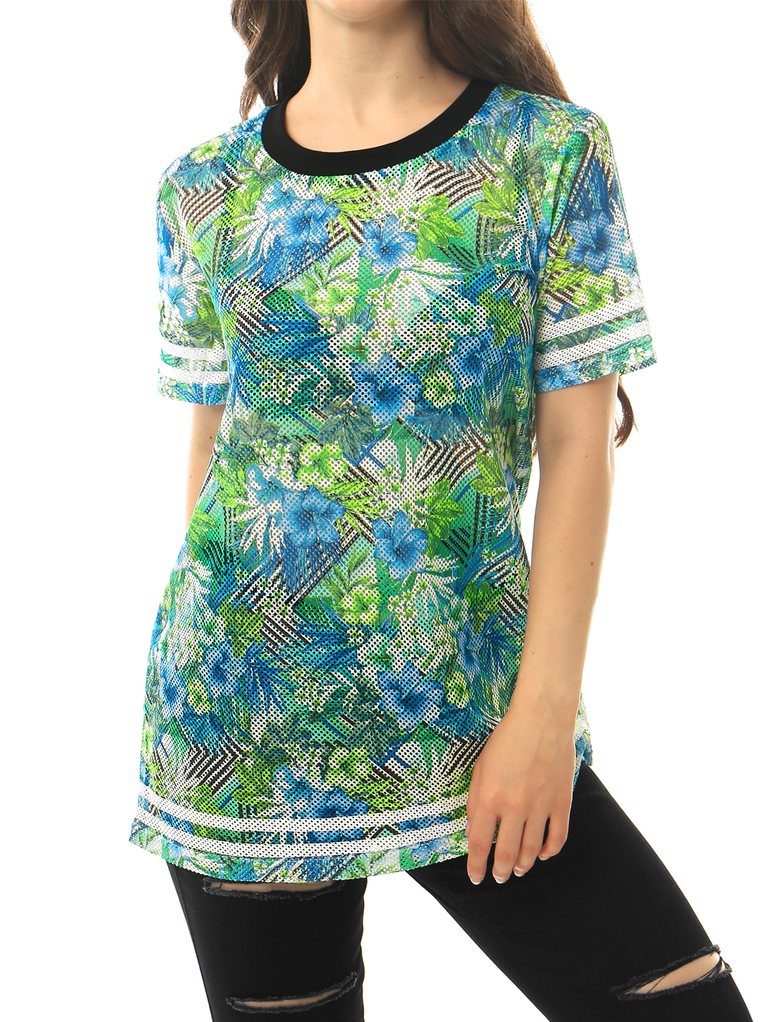 Women Floral Print Stripes Trim Tunic Mesh T-Shirts Blue Green L
