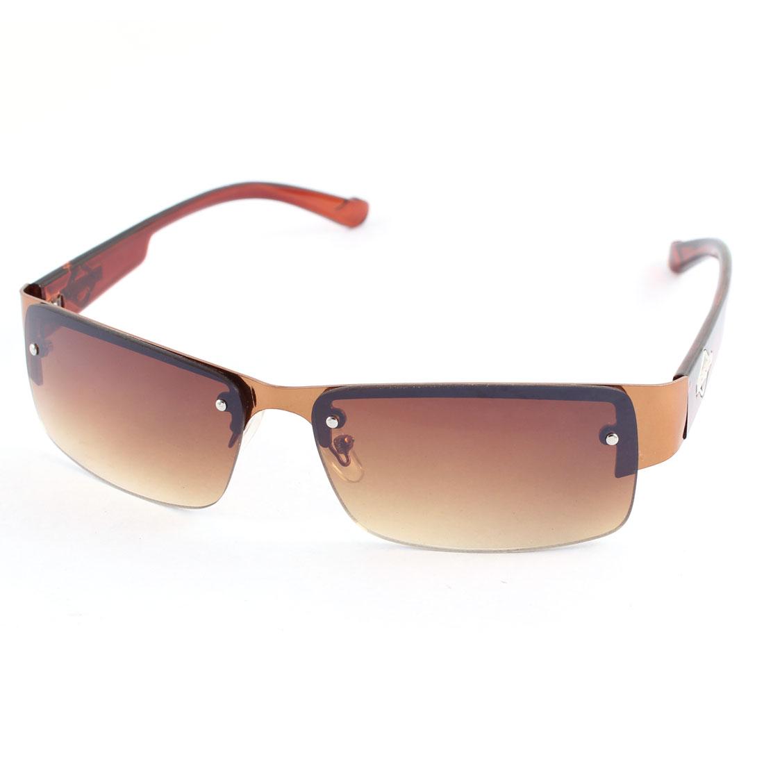 Lady Women Plastic Half Rim Rectangle Len Sunglass Eye Protection Eyewear Brown