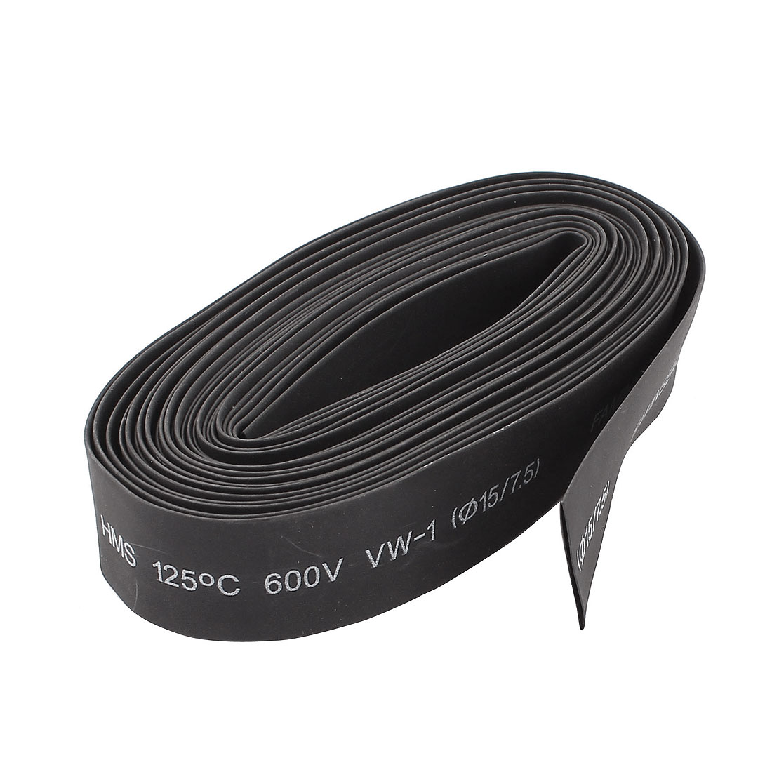 600V 15mm Dia 2:1 Polyolefin Heat Shrink Tubing Shrinkable Tube Black 6M 20Ft