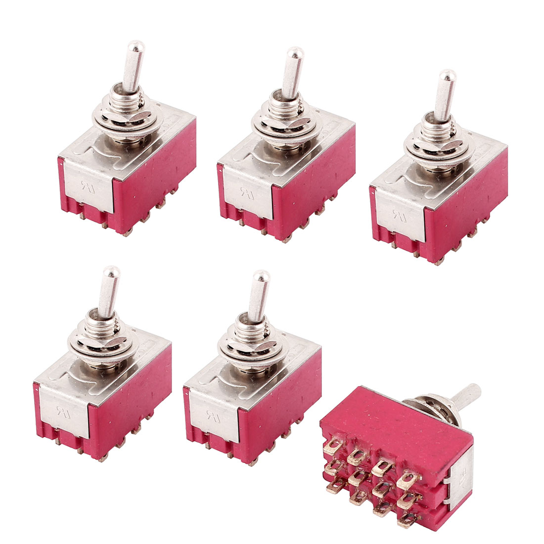 AC 250V/2A 125V/6A 6mm Panel Mount 4PDT ON/ON Locking Toggle Switch 6pcs