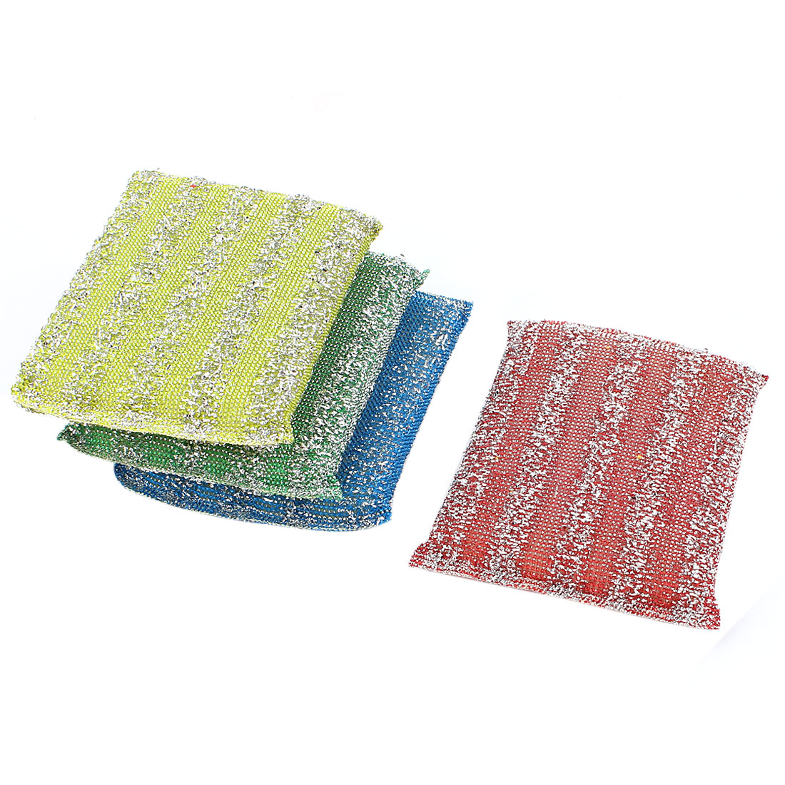 Home Kitchen Bowl Dish Pot Wash Clean Scrub Sponge Cleaning Pads Multicolor 4pcs