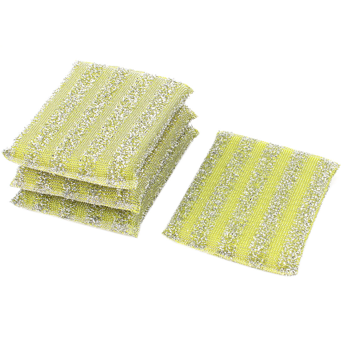 Home Kitchen Bowl Dish Pot Wash Clean Scrub Sponge Cleaning Pads Yellow 4pcs