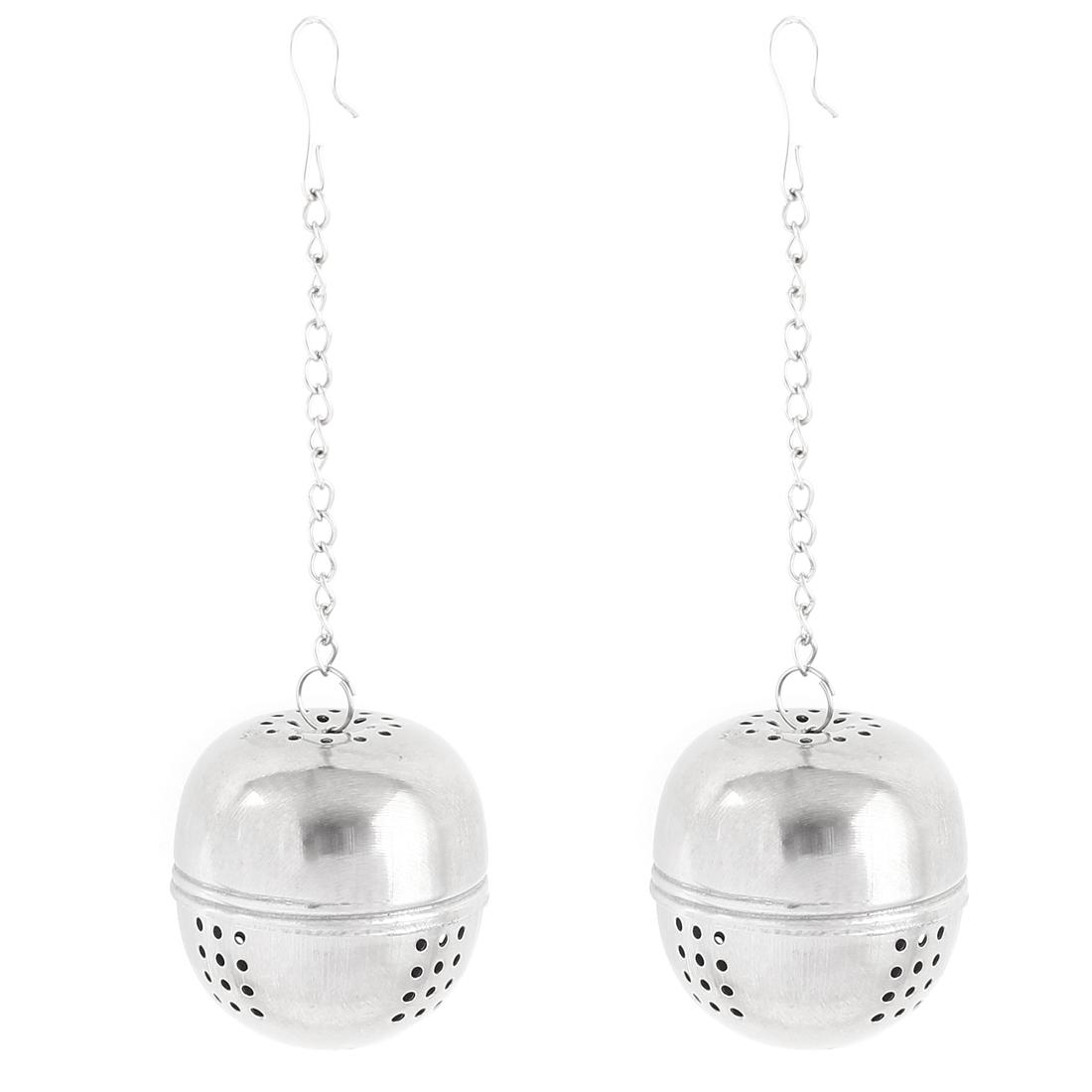 2pcs 4cm Dia Stainless Steel Ball Strainer Tea Leaf Spice Perfume Infuser