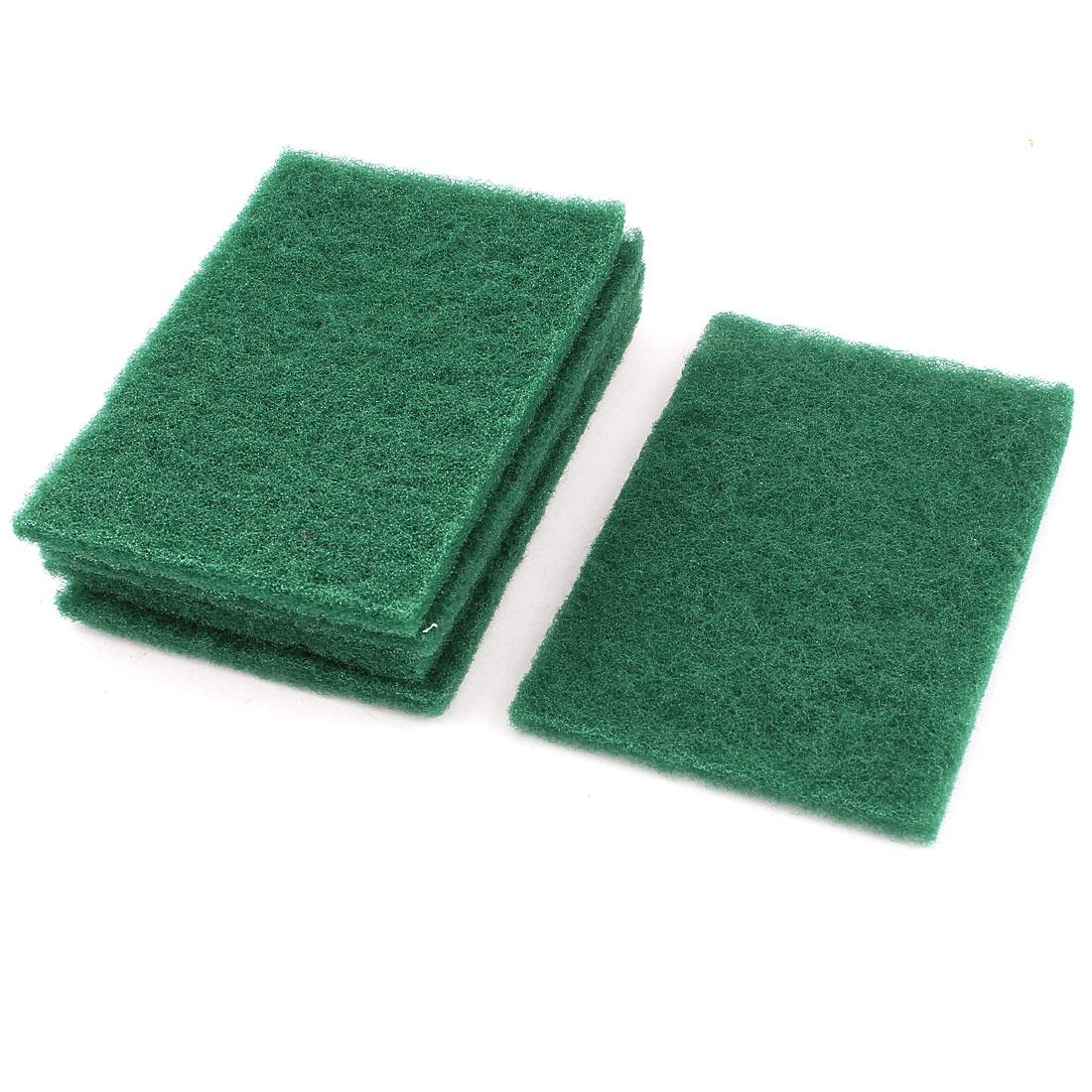 Home Kitchen Bowl Dish Wash Clean Scrub Sponge Cleaning Pads Green 5pcs