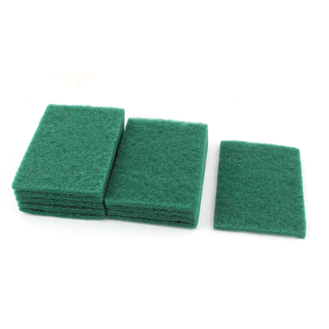 Home Kitchen Bowl Dish Wash Clean Scrub Sponge Cleaning Pads Green 10pcs