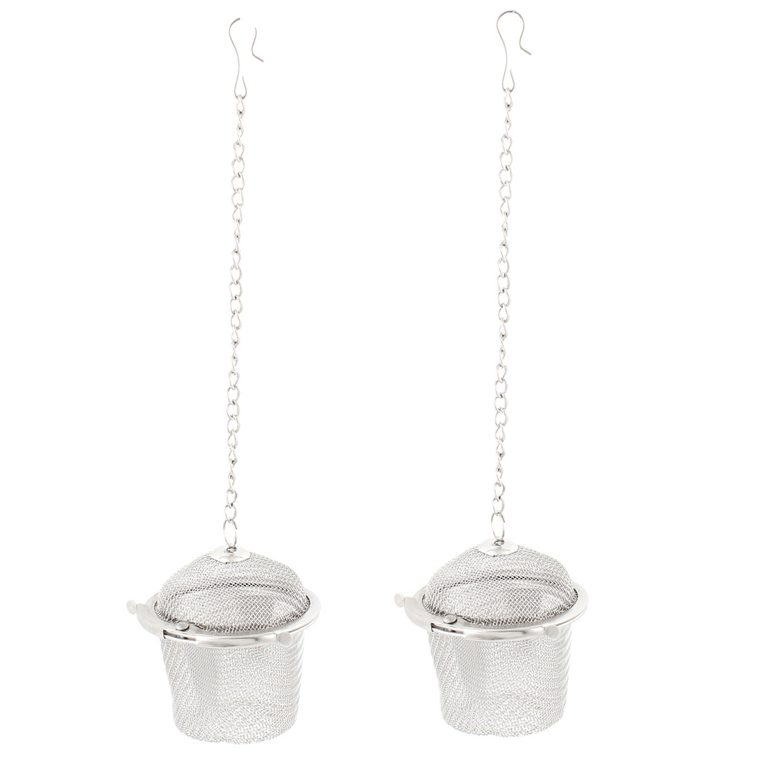Stainless Steel Locking Chain Mesh Ball Strainer Tea Leaf Spice Infuser 2pcs
