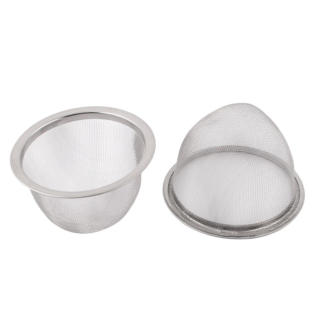 """Kitchen Bathroom 3"""" Dia Stainless Steel Mesh Sink Waste Filter Strainer 2pcs"""