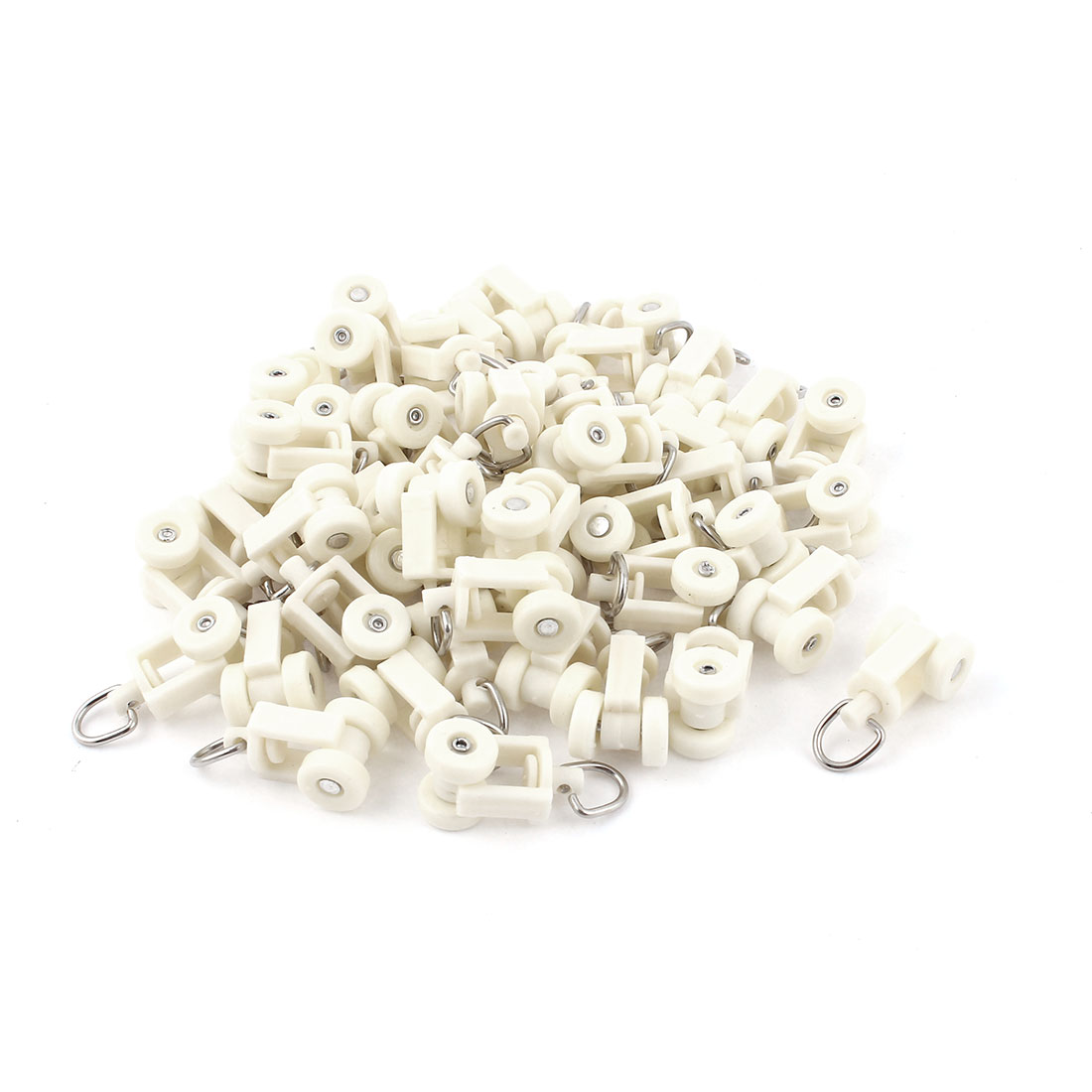 50pcs Plastic 10mm Dia Wheel Oval Ring Curtain Track Carrier Rollers Beige