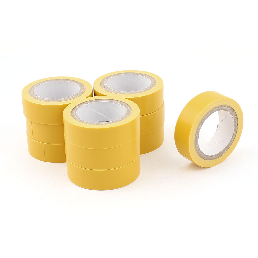 33Ft Long 15mm Wide PVC Self-adhesive Electrical Insulation Tape Yellow 10 Rolls