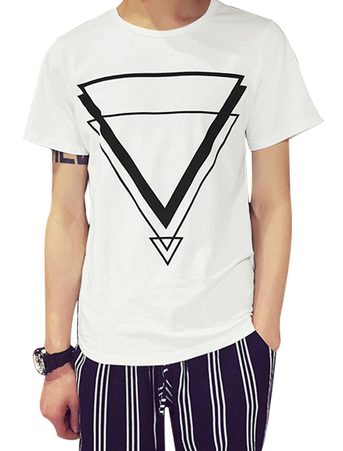 Man Triangle Pattern Round Neck Short Sleeves Leisure Basic Tee White S
