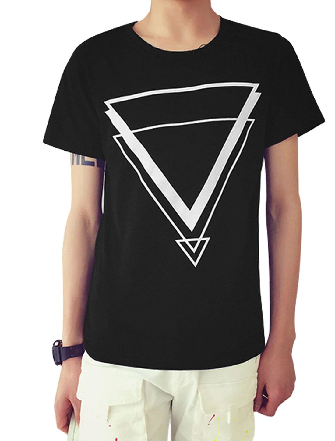 Man Triangle Pattern Round Neck Slipover Leisure Basic Tee Black S