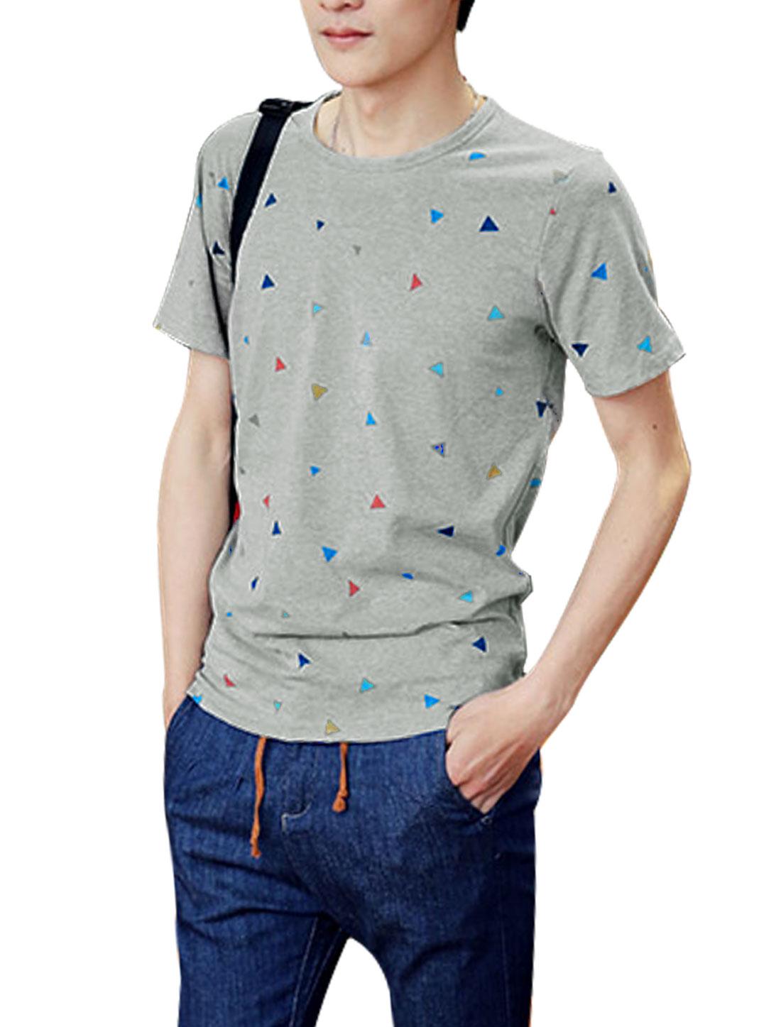 Men Round Neck Short Sleeve Triangle Prints Slipover Tee Light Gray S