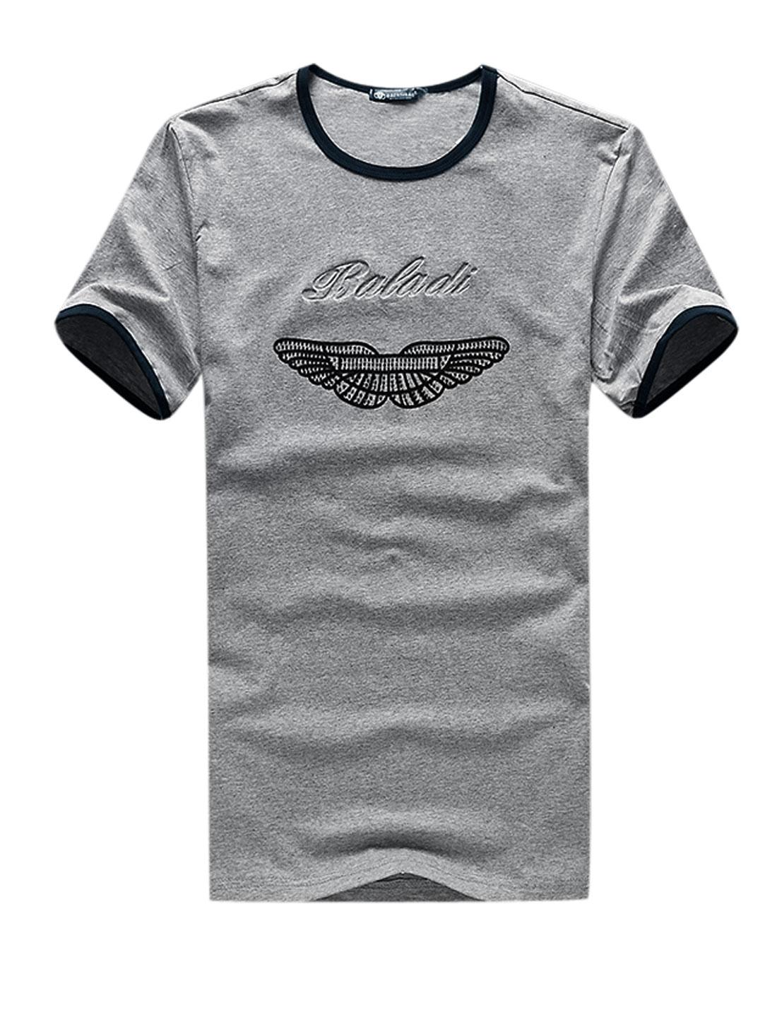 Men Round Neck Novelty Print Casual Summer T-Shirt Gray M