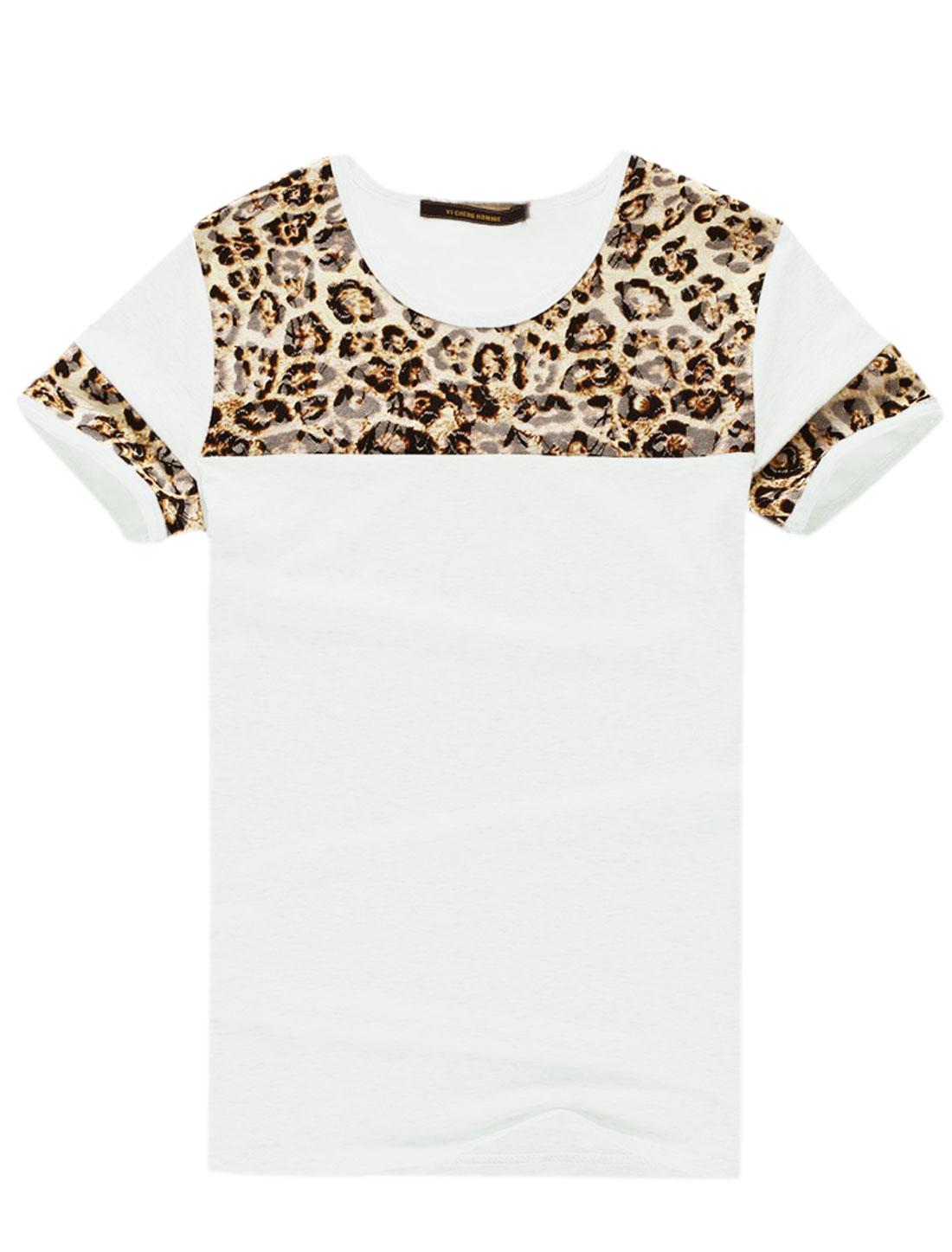 Men Short Sleeve Round Neck Leopard Print T-Shirt White Beige M