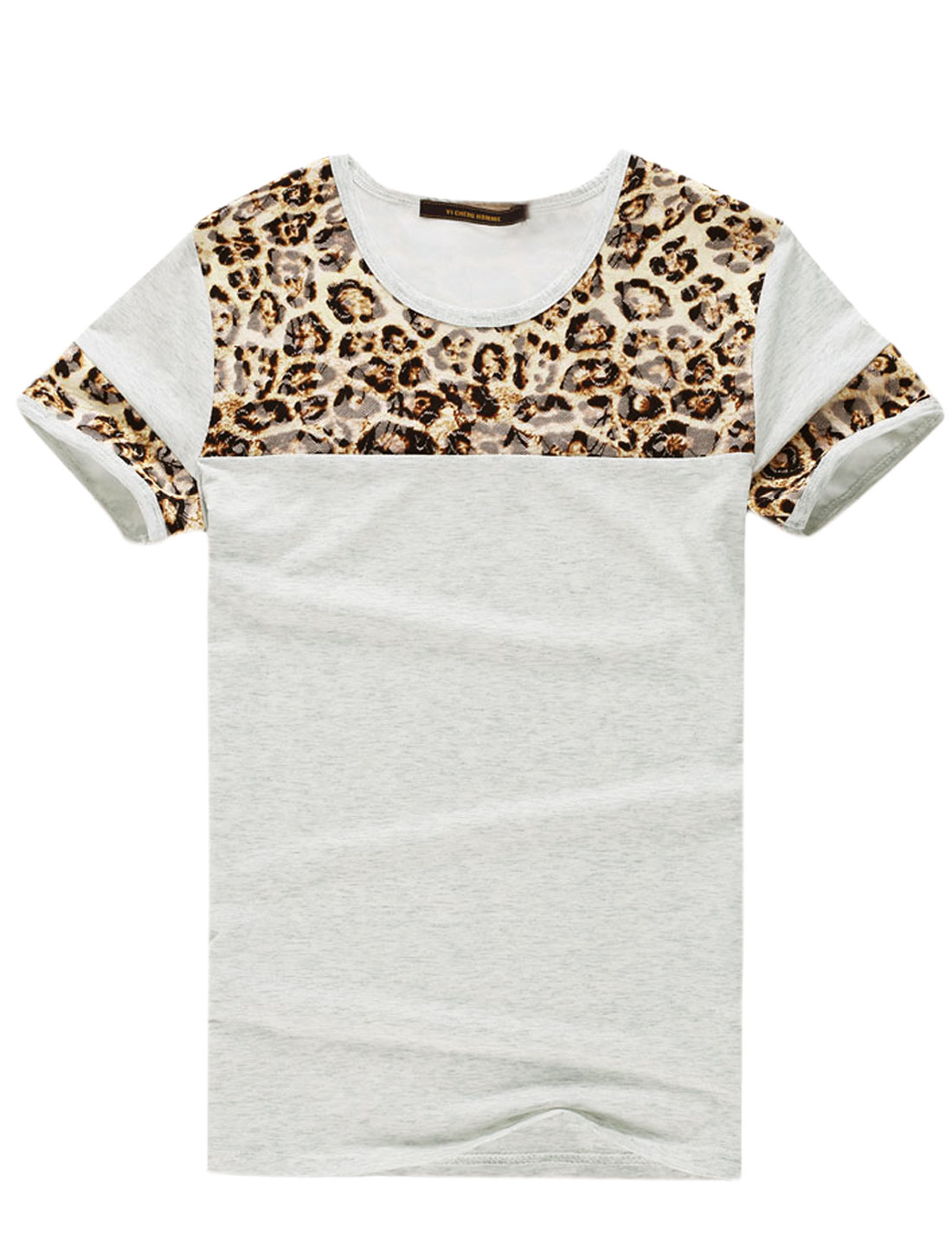 Men Short Sleeve Leopard Print Leisure T-Shirts Light Gray Beige M