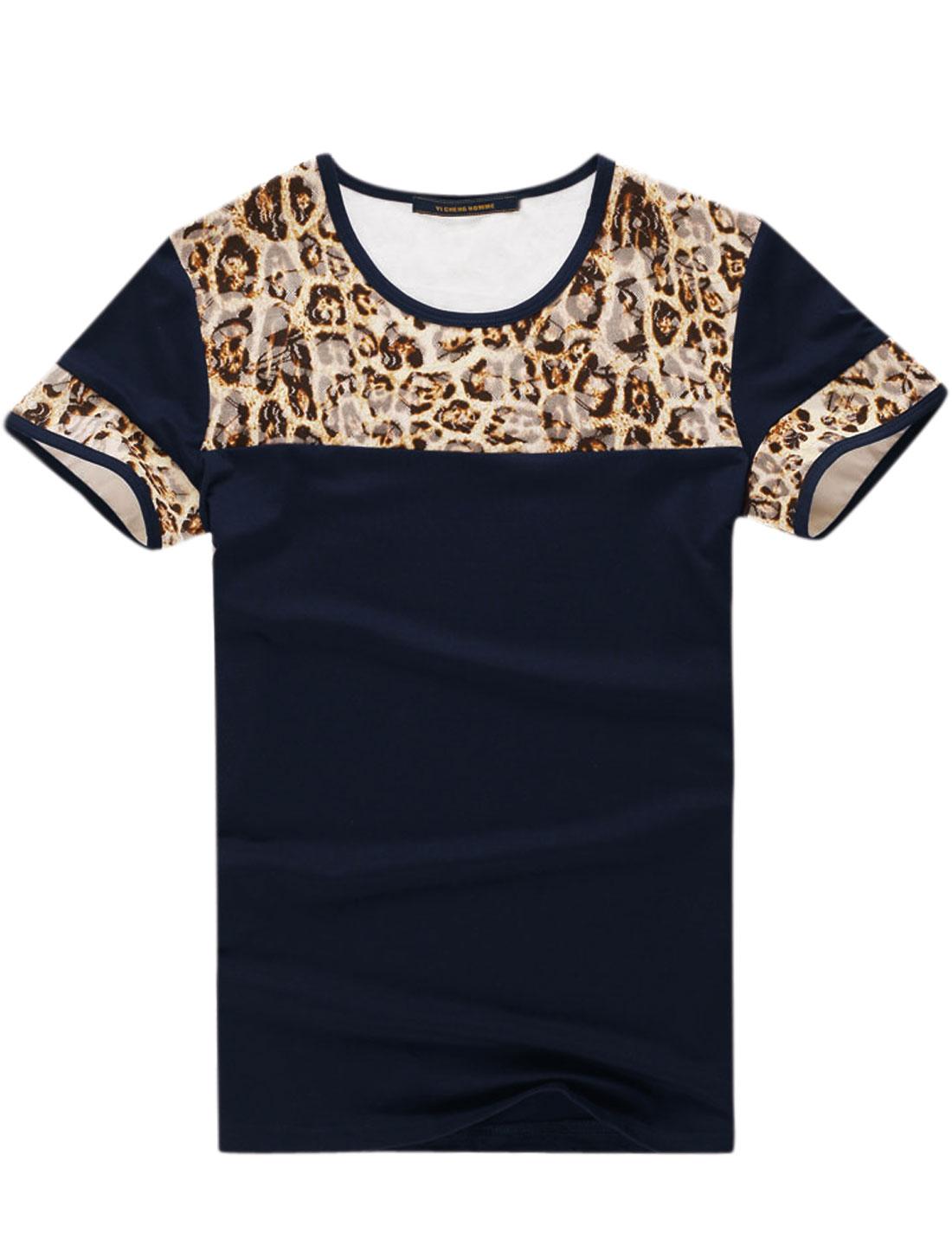 Men Round Neck Leopard Print Slim Fit T Shirts Navy Blue Beige M