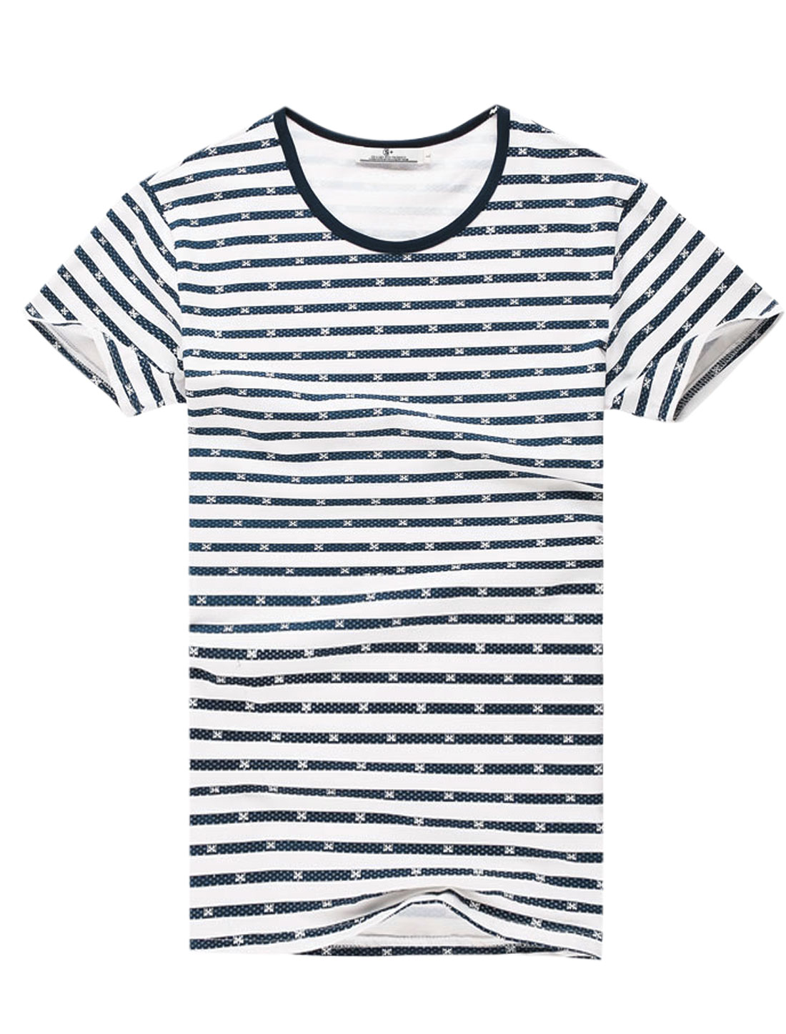 Men Short Sleeve Round Neck Stripes Print Summer T-Shirt Navy Blue White M