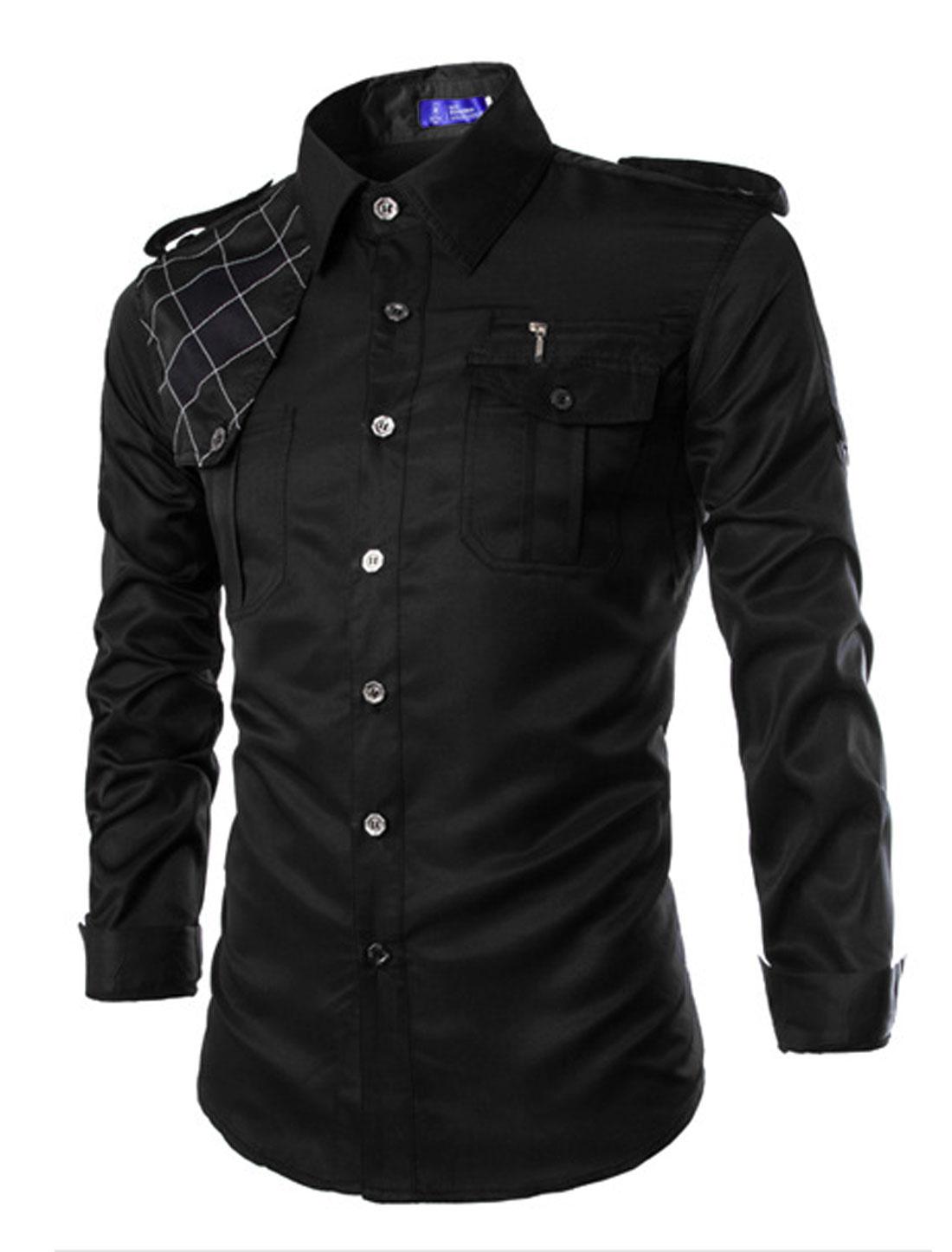 Man Point Collar Long Sleeves Button-tab Epaulets Casual Shirts Black M