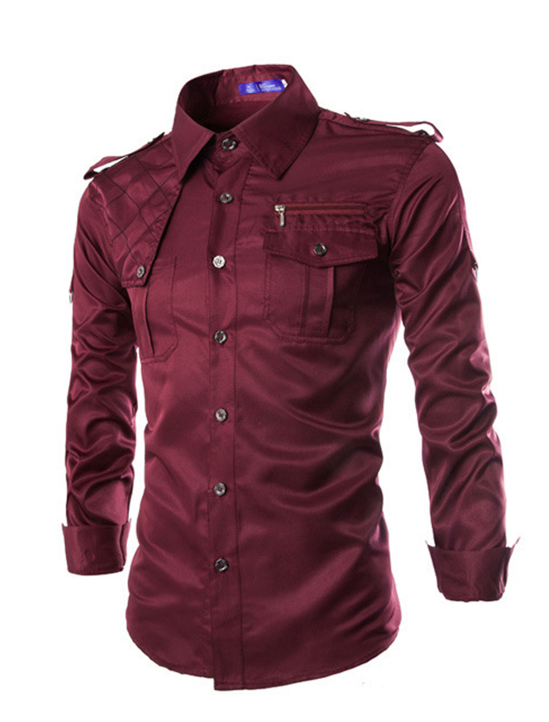 Men Long Sleeves Quilted Detail Button Down Shirts Burgundy M