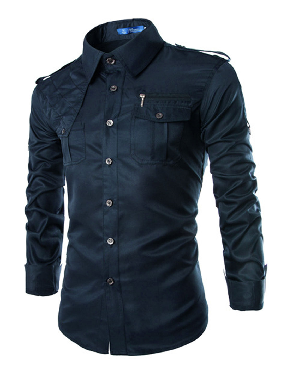 Men Point Collar Long Sleeves Chest Pockets Button Down Shirts Navy Blue M
