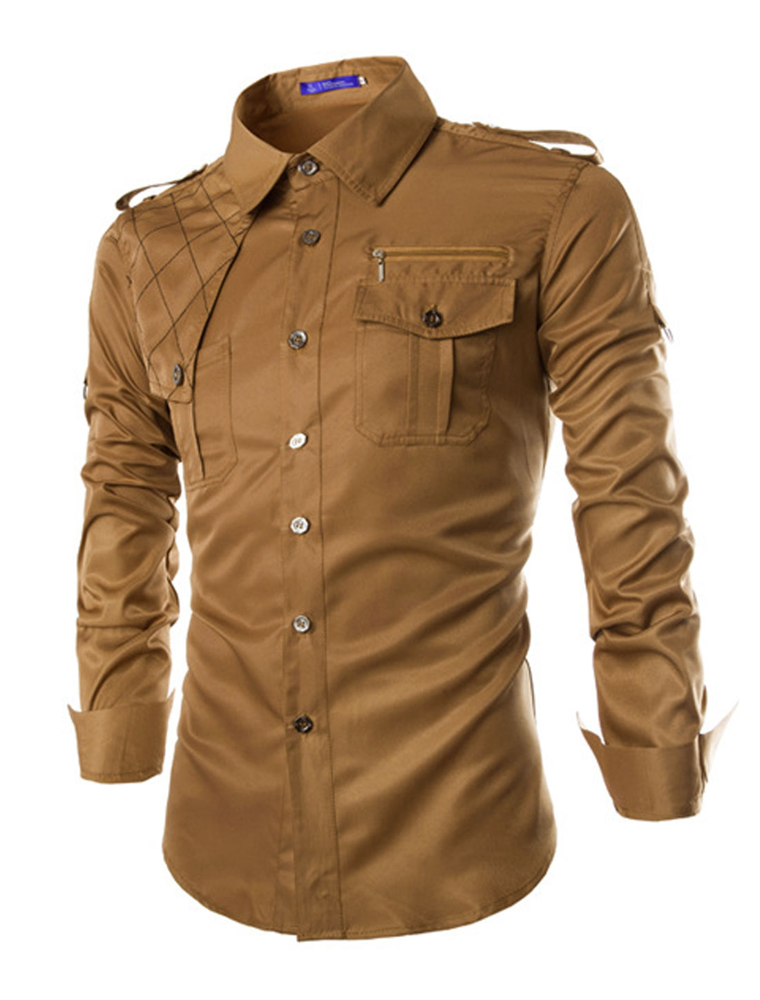 Men Long Sleeves Epaulets Round Hem Casual Shirts Camel M